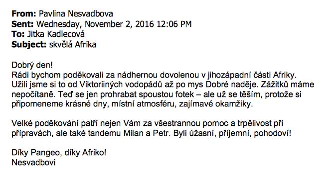 Skvělá Afrika - ohlas klientů CK Pangeotours z 2.11.2016