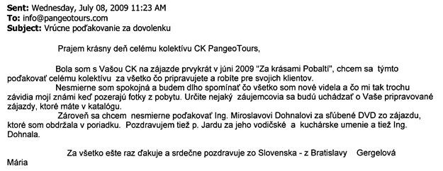 Ohlasy od klientů CK Pangeo Tours