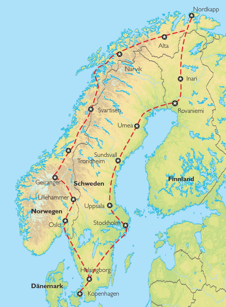 Karte Norwegen Dänemark.Reise Pangeo Tours Norwegen Dänemark Finnland Schweden