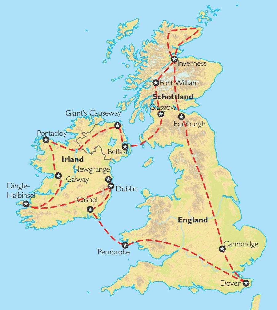 Irland Karte Städte.Reise Pangeo Tours Schottland Irland England Keltische Odyssee