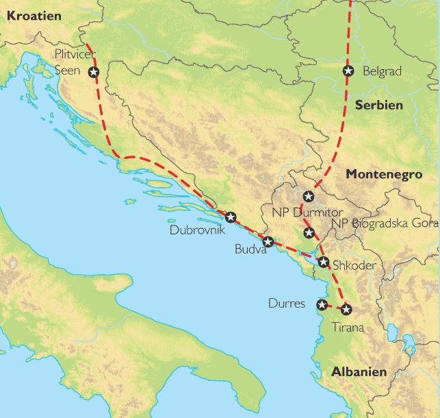 Karte Montenegro Kroatien.Reise Pangeo Tours Serbien Montenegro Albanien Kroatien
