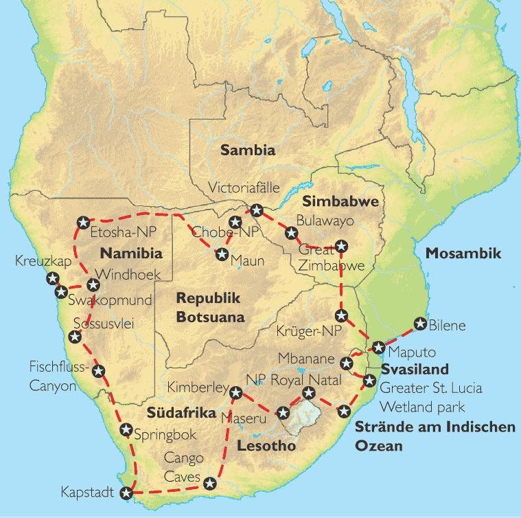 Mosambik Karte.Reise Pangeo Tours Republik Südafrika Namibia Botsuana Sambia