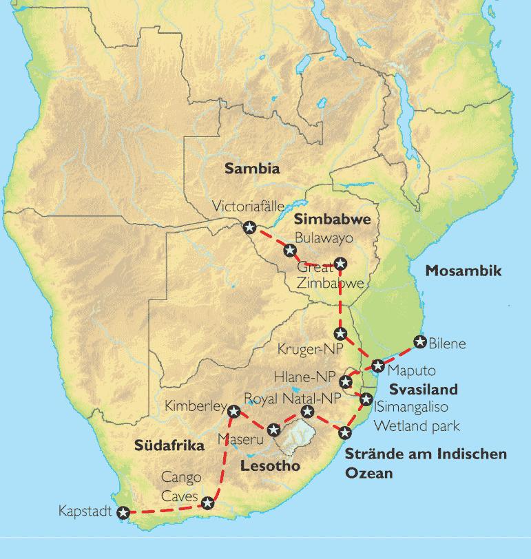 Afrika Karte Staaten.Reise Pangeo Tours Republik Südafrika Lesotho Swasiland Mosambik