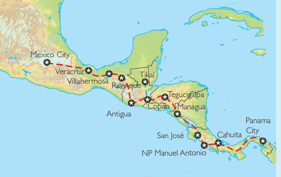 Costa Rica Karte Mittelamerika.Reise Pangeo Tours Mexiko Guatemala Honduras Nicaragua Costa