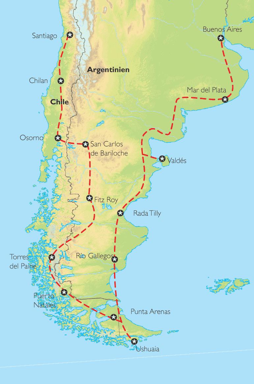 Chile Patagonien Karte.Reise Pangeo Tours Argentinien Chile Uruguay Patagonien