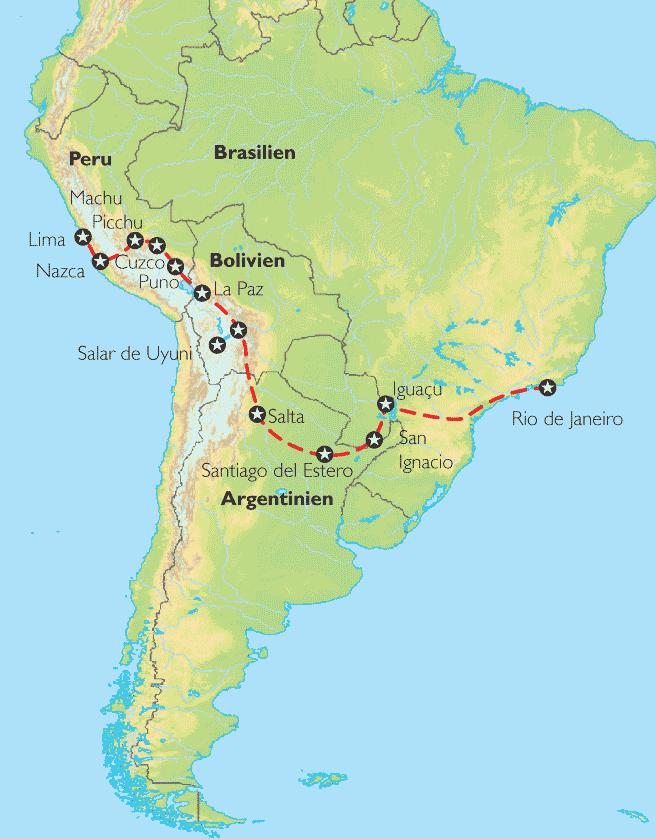 Peru Karte Südamerika.Reise Pangeo Tours Peru Bolivien Argentinien Brasilien Quer