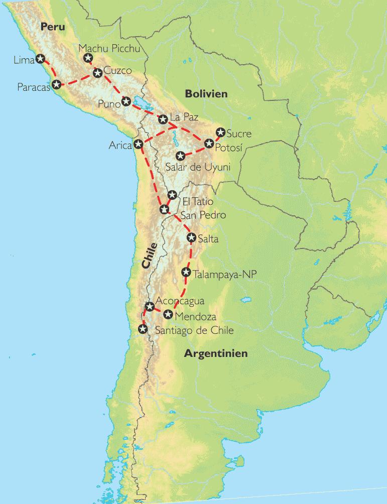 Atacama Wüste Karte.Reise Pangeo Tours Chile Argentinien Bolivien Peru Große Anden